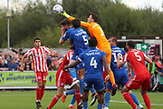 Sunderland goalkeeper Jon McLaughlin (1) punching the ball during the EFL Sky Bet League 1 match between AFC Wimbledon and Sunderland at the Cherry Red Records Stadium, Kingston, England on 25 August 2018.