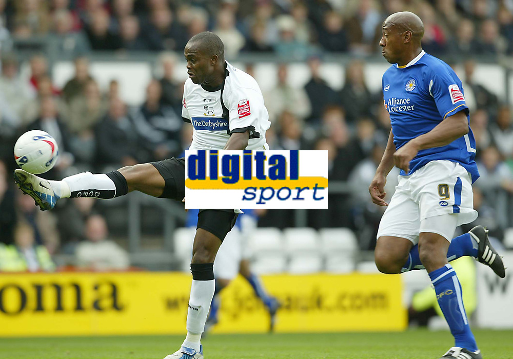 Photo: Aidan Ellis.<br /> Derby County v Leicester City. Coca Cola Championship. 01/10/2005.<br /> deby's Stern John just misses with this effort as Leicester's Dion Dublin can only watch