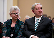 Ohio University First Lady and President Nellis listen to Kenneth Stern deliver his keynote address.