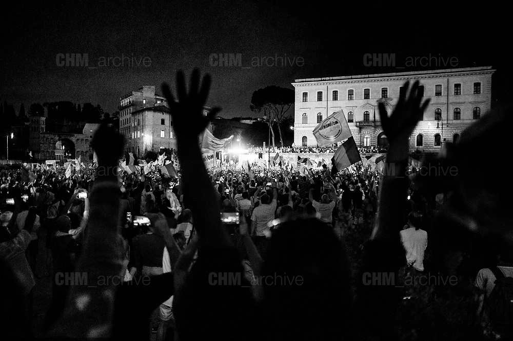 Supporters of 5-Star movement take part at the national demonstration organized to celebrate the new government formation on June 2, 2018 in Rome, Italy. Christian Mantuano / OneShot