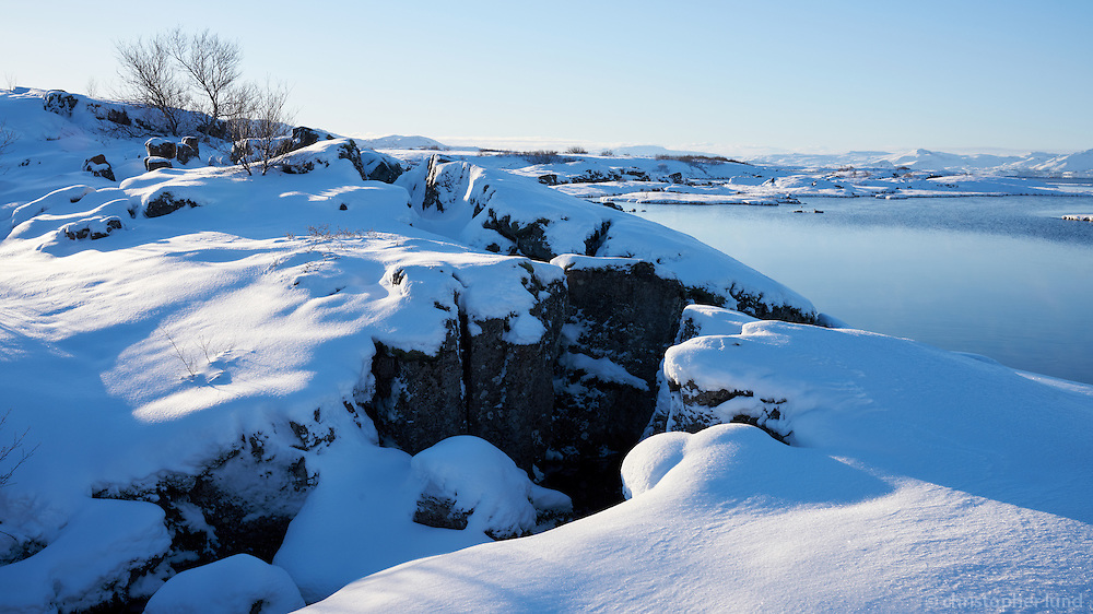 Þingvellir National Park in winter. South Iceland.