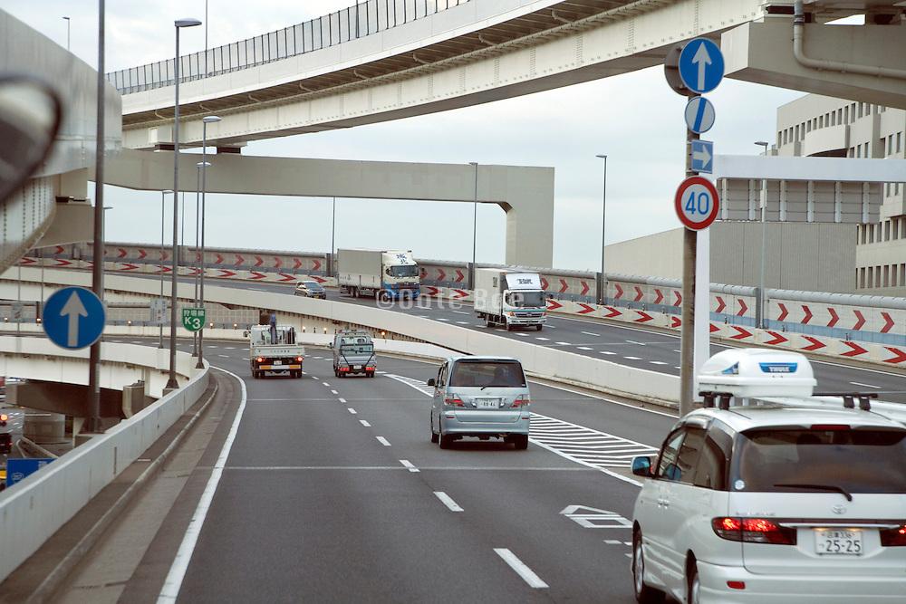 highway with traffic around Tokyo Japan