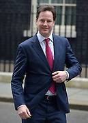 © Licensed to London News Pictures. 26/03/2013. Westminster, UK (left) Nick Clegg,  Liberal Democrat MP, Deputy Prime Minister. Ministers inDowning Street, London, for Cabinet today, 26th March 2013. Photo credit : Stephen Simpson/LNP