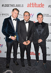 EDITORIAL USE ONLY<br /> Alan Carr (centre) attends the 2016 Attitude Award the 2016 Attitude Awards in association with Virgin Holidays, at 8 Northumberland Avenue, London.