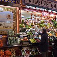 Fruit, vegetable, meat, and fish market, Mercado de Triana, Sevilla. Seville, Andalusia, Spain.