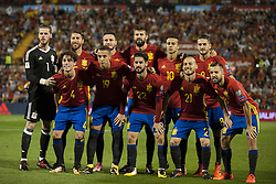 October 6, 2017 - Alicante, Spain - Line up of Sapin during the qualifying match for the World Cup Russia 2018 between Spain and Albaniaat the Jose Rico Perez stadium in Alicante, Spain on October 6, 2017. (Credit Image: © Jose Breton/NurPhoto via ZUMA Press)