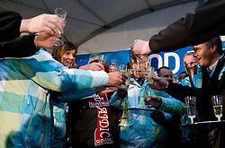 Slovenian bronze medalist cross-country skier Petra Majdic, Mitja Praznik, Robert Slabanja and Marko Gracer  at reception at her home town Dol pri Ljubljani after she came from Vancouver after Winter Olympic games 2010, on March 1, 2010 in Dol pri Ljubljani, Slovenia. (Photo by Vid Ponikvar / Sportida)