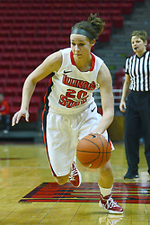 01 January 2012:  Katie Broadway makes a move towards the inside during an NCAA women's basketball game between the Evansville Purple Aces and the Illinois Sate Redbirds at Redbird Arena in Normal IL