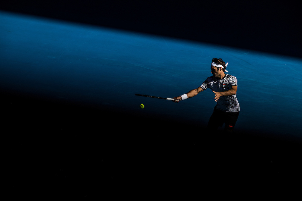 Roger Federer of Switzerland on day three of the 2017 Australian Open at Melbourne Park on January 18, 2017 in Melbourne, Australia.<br /> (Ben Solomon/Tennis Australia)
