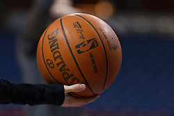 Jan 8, 2012; Sacramento, CA, USA; Detailed view of an NBA baskeball in the hand of an unidentified ball boy before the game between the Sacramento Kings and the Orlando Magic at Power Balance Pavilion. Mandatory Credit: Jason O. Watson-US PRESSWIRE