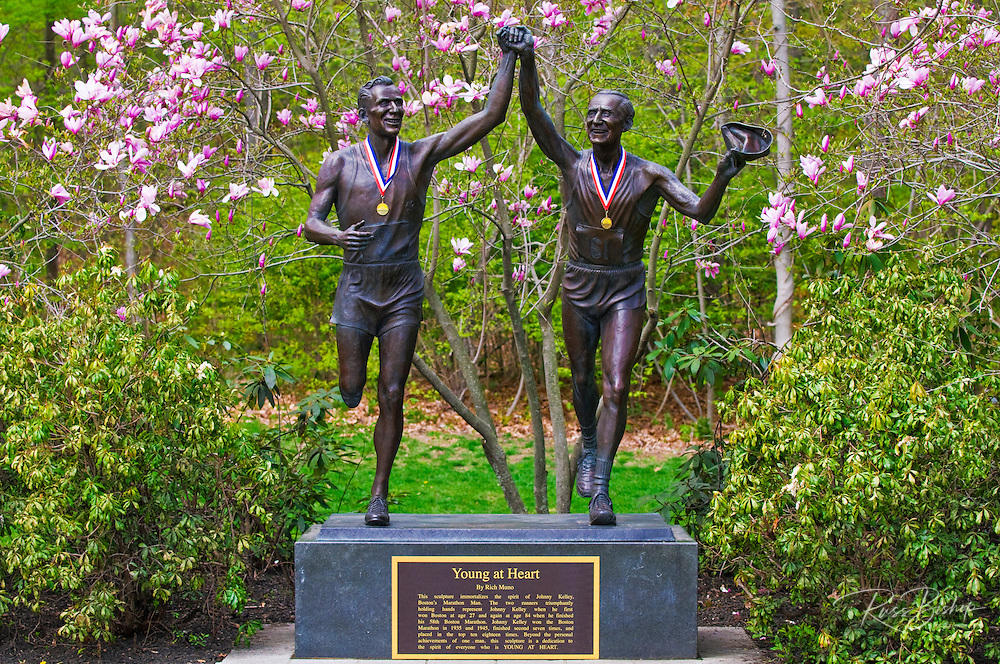 "Johnny Kelley statue ""Young at Heart"" on the Boston Marathon course, Newton, Massachusetts"