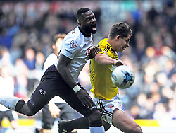 Derby Darren Bent battles with Brentford James Tarkowski, Derby County v Brentford, Sy Bet Championship, IPro Stadium, Saturday 11th April 2015. Score 1-1,  (Bent 92) (Pritchard 28)<br /> Att 30,050