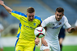 Gaber Dobrovoljc of Domzale vs Petar Bojic of Cukaricki during 1st Leg football match between NK Domzale (SLO) na FC Cukaricki (SRB) in 1st Round of Europe League 2015/2016 Qualifications, on July 2, 2015 in Sports park Domzale,  Slovenia. Photo by Vid Ponikvar / Sportida