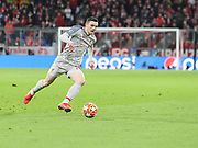 Andy Robertson of Liverpool with the ball during the Champions League round of 16, leg 2 of 2 match between Bayern Munich and Liverpool at the Allianz Arena stadium, Munich, Germany on 13 March 2019.