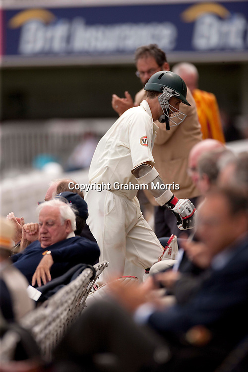 Simon Katich walks up the pavilion steps after being dismissed during the MCC Spirit of Cricket Test Match between Pakistan and Australia at Lord's.  Photo: Graham Morris (Tel: +44(0)20 8969 4192 Email: sales@cricketpix.com) 15/07/10