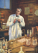 Thomas Alva Edison (1847-1931) American inventor, at work on incandescent light bulbs in his laboratory at Menlo Park.