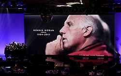 A tribute to Ronnie Moran on the big screen during the Professional Footballers' Association Awards 2017 at the Grosvenor House Hotel, London