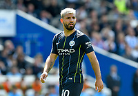 BRIGHTON, ENGLAND - MAY 12:     Sergio Aguero (10) of Manchester City during the Premier League match between Brighton & Hove Albion and Manchester City at American Express Community Stadium on May 12, 2019 in Brighton, United Kingdom. (MB Media)