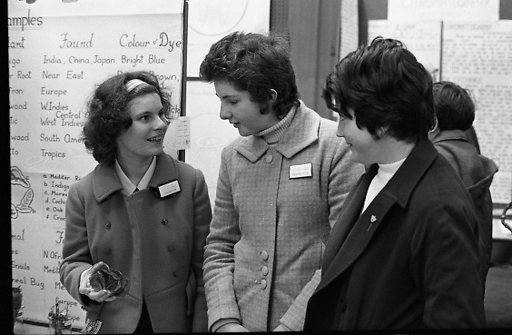 Aer Lingus Young Scientist of the Year..1971..08.01.1971..01.08.1971..8th January 1971..The annual Aer Lingus Young Scientist of the year was held in The R.D.S.Dublin.Once again, this year,there was an outstanding display of projects by school children from around the country,many of which,it is hoped,will have applications into the future. The main speaker at the event was Mr Patrick Faulkner TD, Minister for Education..Image of Agnes O'Brien (left) discussing her project on dyes with fellow pupils,Helen Hegarty and Joanne Shiel. All are pupils in Loreto Convent,Youghal, Co Cork.