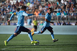 September 23, 2017 - East Hartford, Connecticut, U.S - New York City FC forward DAVID VILLA (7) brings the ball up field while New York City FC midfielder MAXIMILIANO MORALEZ (10) looks on during a game at Pratt & Whitney Stadium at Rentschler Field, East Hartford, CT.  New York City FC draw with the Houston Dynamo 1 to 1 (Credit Image: © Mark Smith via ZUMA Wire)