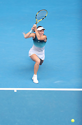 MELBOURNE, Jan. 18, 2019  SP)AUSTRALIA-MELBOURNE-TENNIS-2019 AUSTRALIAN OPEN-DAY 5.    Caroline Wozniacki of Denmark competes.    during the women's third round match between Maria Sharapova of Russia and Caroline Wozniacki of Denmark at the 2019 Australian Open in Melbourne, Australia, Jan. 18, 2019. (Credit Image: © Bai Xuefei/Xinhua via ZUMA Wire)