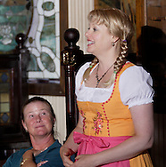 """Tamra Francis of Dayton (right) during Mayhem & Mystery's production of """"Festival Fracas"""" at the Spaghetti Warehouse in downtown Dayton, Monday, September 27, 2010."""