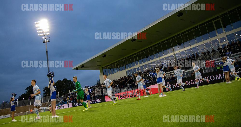 FC Helsingørs spillere løber på baen til kampen i 2. Division mellem FC Helsingør og B.93 den 20. september 2019 på Helsingør Ny Stadion (Foto: Claus Birch).