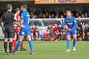 AFC Wimbledon midfielder Scott Wagstaff (7) talking to the ref during the EFL Sky Bet League 1 match between AFC Wimbledon and Doncaster Rovers at the Cherry Red Records Stadium, Kingston, England on 9 March 2019.