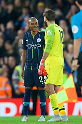 LIVERPOOL, ENGLAND - Sunday, October 7, 2018: Manchester City's Fernando Luiz Roza 'Fernandinho' (L) and Liverpool's goalkeeper Alisson Becker after the FA Premier League match between Liverpool FC and Manchester City FC at Anfield. The game ended goal-less. (Pic by David Rawcliffe/Propaganda)