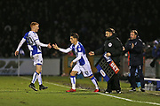 Bristol Rovers Tom Nichols (11) comes on for Bristol Rovers Rory Gaffney (30) during the EFL Sky Bet League 1 match between Bristol Rovers and Doncaster Rovers at the Memorial Stadium, Bristol, England on 23 December 2017. Photo by Gary Learmonth.