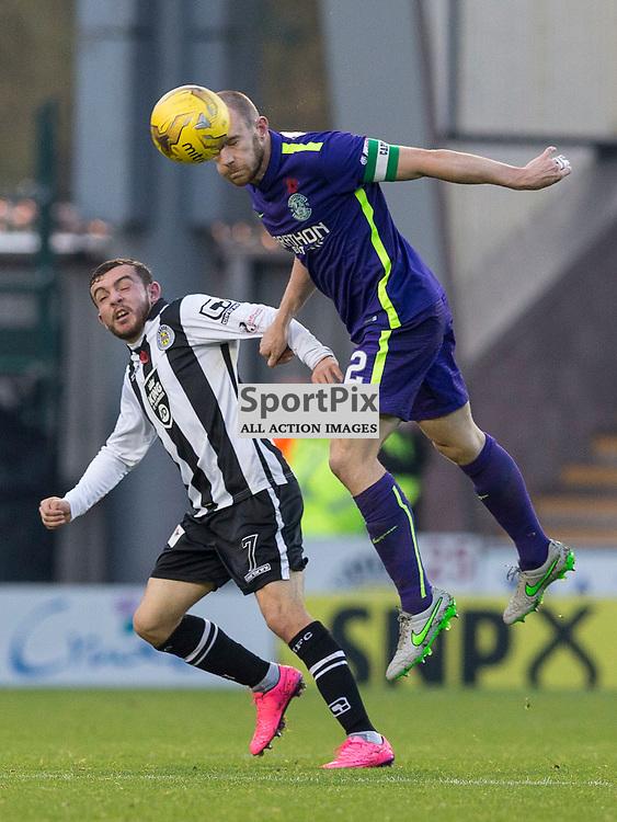 David Gray (Hibernian captain) wins header over Paul McMullan  (St Mirren)  during the Ladbrokes Championship match between St Mirren v Hibernian at St Mirren Park on Saturday 7 November 2015<br /> <br /> Picture: Alan Rennie