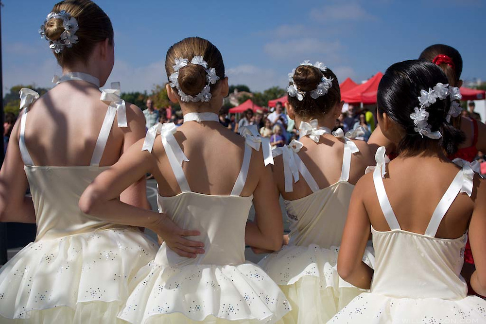 A group of girls wait to perform as part of the Royal Dance Academy  during the Halloween carnival at the Ashley Falls School in Carmel Valley on October 19, 2008.