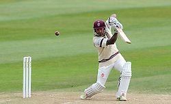 Somerset's Peter Trego drives the ball. - Photo mandatory by-line: Harry Trump/JMP - Mobile: 07966 386802 - 17/06/15 - SPORT - CRICKET - LVCC County Championship - Division One - Day Four - Somerset v Nottinghamshire - The County Ground, Taunton, England.