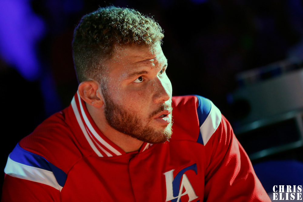 20 March 2015:  Los Angeles Clippers forward Blake Griffin (32) is seen during the players introduction prior to the Los Angeles Clippers 113-99 victory over the Washington Wizards, at the Staples Center, Los Angeles, California, USA.