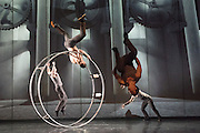 18/02/2015. Canada's internationally acclaimed circus company Cirque Éloize tours the UK with new show Cirkopolis in Spring 2015, supported by Dance Consortium. This performance at the Peacock Theatre, London.