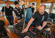 "Students from the Austin High School Maritime Academy tour the G&H Towing tug boat ""Zeus"" at the Port of Houston, January 27, 2015."