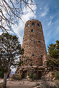 Desert View Watchtower was built by architect Mary Colter in 1932. Inspired by the architecture of the ancestral Puebloan people of the Colorado Plateau, she modelled the tower after Hovenweep and the Round Tower of Mesa Verde, and she integrated works by other artists. Grand Canyon National Park, Arizona, USA.