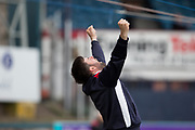 5th May 2018, Dens Park, Dundee, Scotland; Scottish Premier League football, Dundee versus Hamilton Academical; Groundsman Brian Roberrtson reacts to Dundee goalkeeper Elliott Parish penalty save