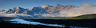 Panorama, Morning Fog, Rocky Mountains, Peter Lougheed Provinical Park, Alberta, Canada.