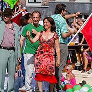 NLD/Amsterdam/20120804 - Canalparade tijdens de Gaypride 2012, Groen Links boot, lijsttrekker Jolanda Sap