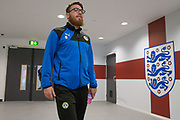Forest Green Rovers Sam Wedgbury(8) walking into Wembley during the Vanarama National League Play Off Final match between Tranmere Rovers and Forest Green Rovers at Wembley Stadium, London, England on 14 May 2017. Photo by Shane Healey.