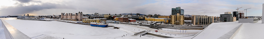 Norway, Oslo. Winter at the new Opera building in Bjørvika. Stitched panorama.