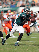 Philadelphia Eagles quarterback Carson Wentz (11) hands off the ball on a running play to Philadelphia Eagles running back Ryan Mathews (24) during the 2016 NFL week 1 regular season football game against the Cleveland Browns on Sunday, Sept. 11, 2016 in Philadelphia. The Eagles won the game 29-10. (©Paul Anthony Spinelli)
