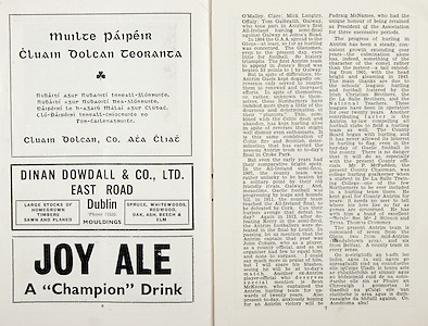 All Ireland Senior Hurling Championship Final, .Brochures,.05.09.1943, 09.05.1943, 5th September 1943, .Antrim 0-4, Cork 5-16,.Minor Dublin v Kilkenny, .Senior Antrim v Cork, .Croke Park, ..Advertisements, Muilte Paipeir Cluain Dolcan Teoranta, Dinan Dowdall & Co. LTD. East Road Dublin, Joy Ale,