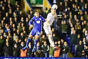 Leeds United defender (on loan from Torino) Pontus Jansson (18) heads the ball  during the EFL Sky Bet Championship match between Birmingham City and Leeds United at St Andrews, Birmingham, England on 3 March 2017. Photo by Dennis Goodwin.