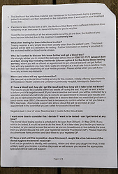 """The letter Oliver Norris, 28, received from the NHS advising him to get tested for HIV and Hepatitis C and B following treatment at Dentality @ Hoddesdon, Hertfordshire, following the dismissal of """"A former self employed, independently contracted hygienist [who] was immediately dismissed following an investigation into failure to abide by strict decontamination protocols for dental instruments"""". London, May 05 2019."""