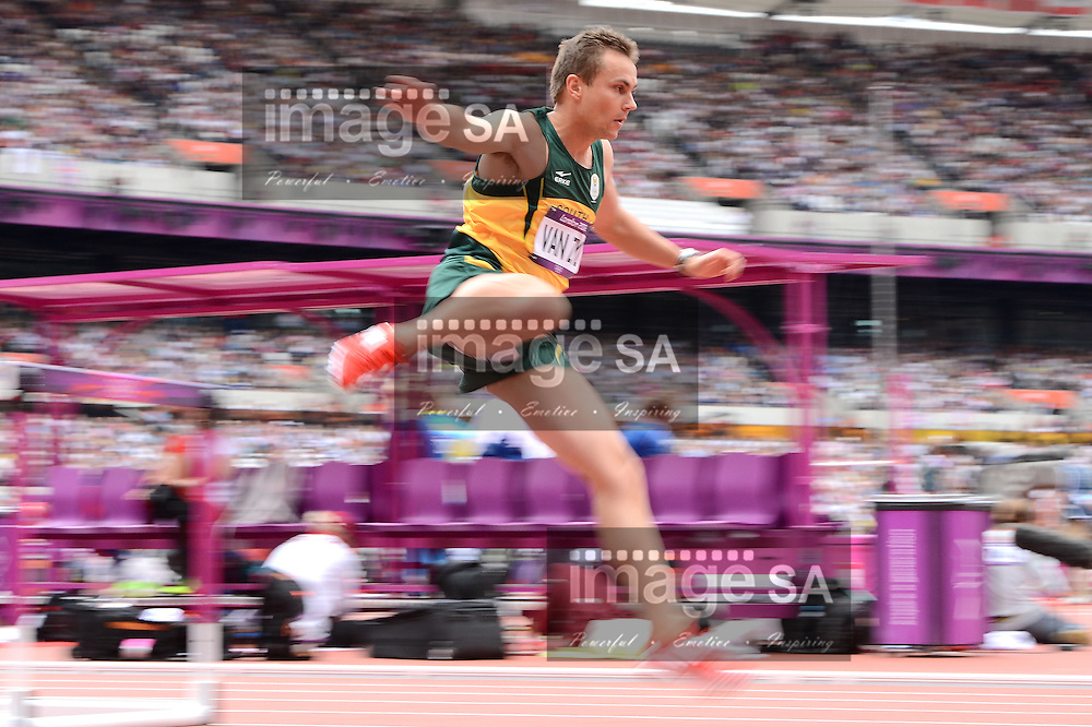 LONDON, ENGLAND - AUGUST 3, LJ  van Zyl of South Africa during the men's 400m hurdles heats at the Olympic Stadium on August 3, 2012 in London, England.Photo by Roger Sedres / Gallo Images