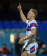 Jacob Miller of Wakefield Trinity celebrates scoring during the Betfred Super League match at Belle Vue, Wakefield<br /> Picture by Richard Land/Focus Images Ltd +44 7713 507003<br /> 09/02/2018