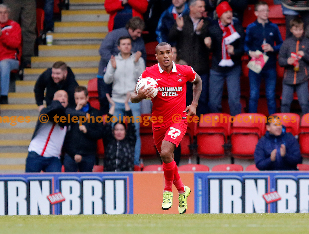 Jay Simpson of Leyton Orient pulls a goal back during the Sky Bet League 2 match between Leyton Orient and Oxford United at the Matchroom Stadium in London. October 17, 2015.<br /> Carlton Myrie / Telephoto Images<br /> +44 7967 642437