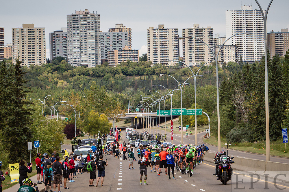 EDMONTON, ALBERTA, CAN - September 3: The peloton passes through the feed zone during stage 3 of the Tour of Alberta on September 3, 2017 in Edmonton, Canada. (Photo by Jonathan Devich)